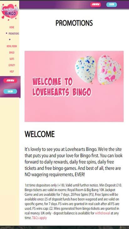 loveheartsbingo promo mobile