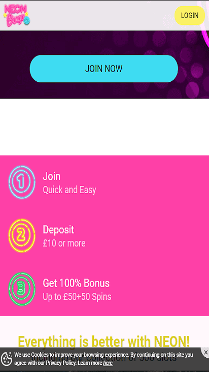 neon bingo pomo mobile
