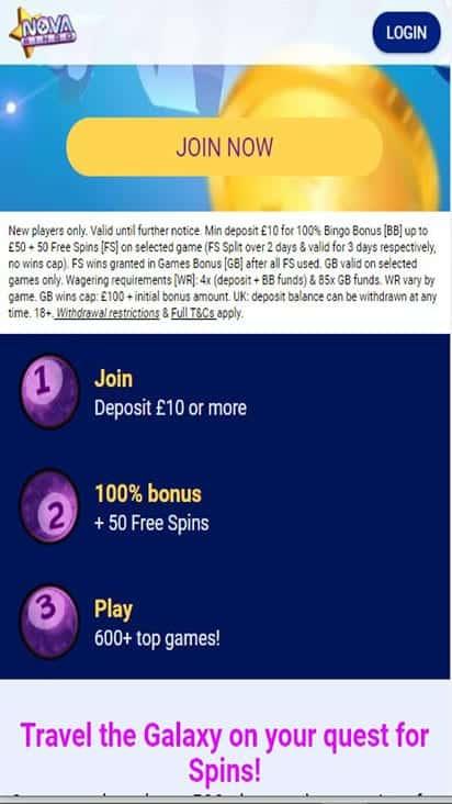 nova bingo promo mobile
