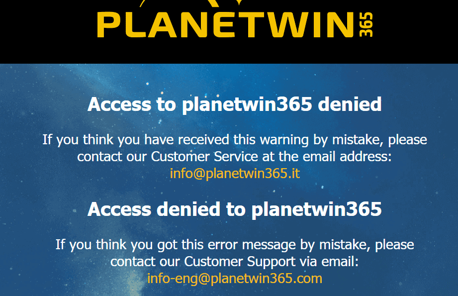 planetwin365 home restriction  NA