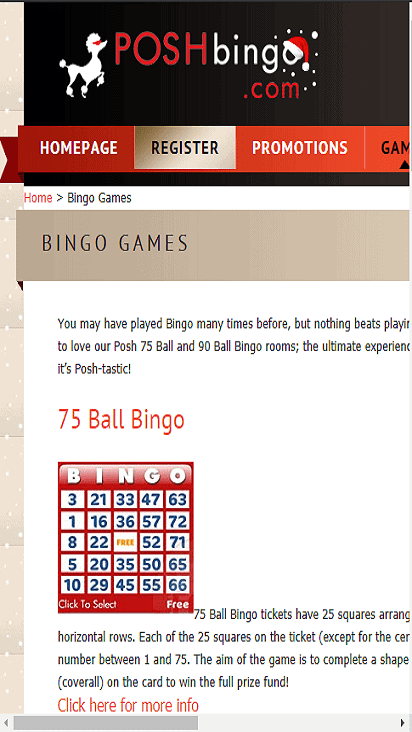 posh bingo game mobile