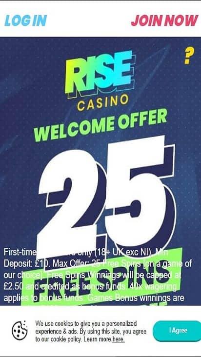 rise casino home mboile