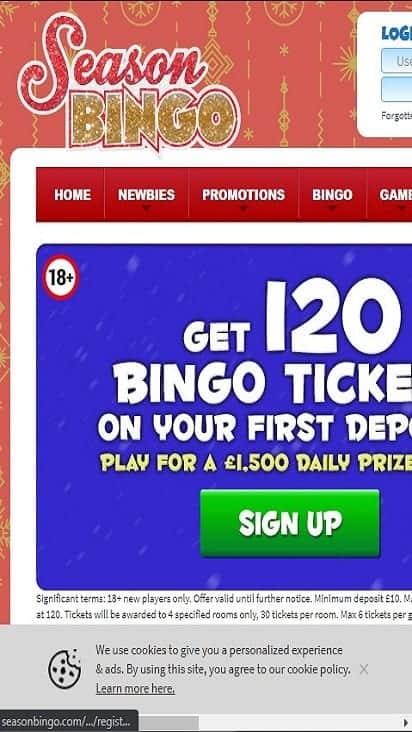 season bingo home mobile