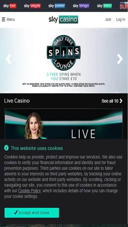 sky casino home mobile