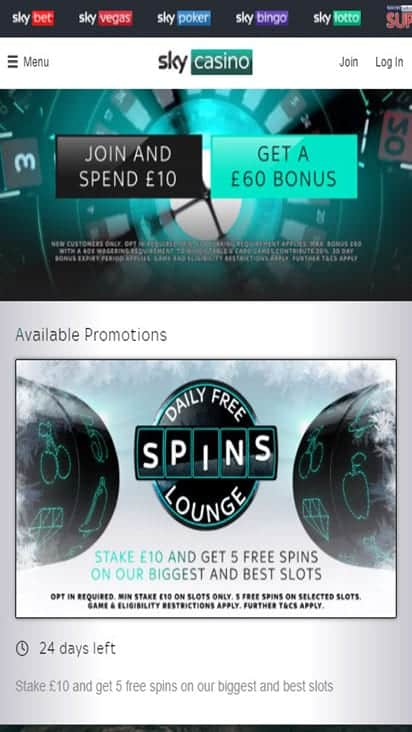sky casino promo mobile