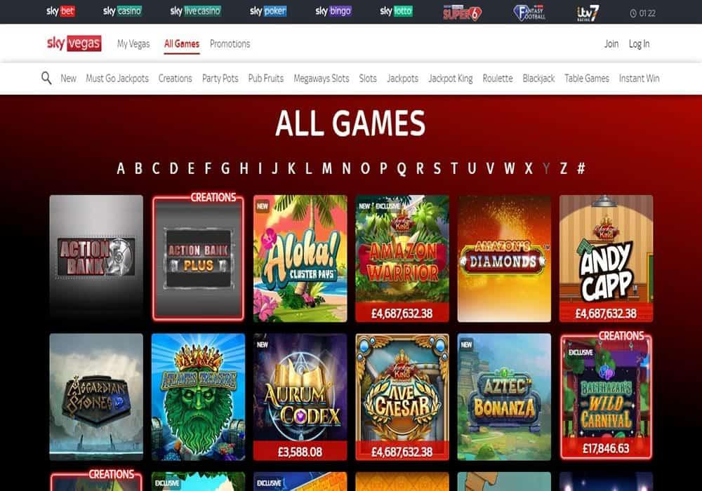 Sky Bingo games