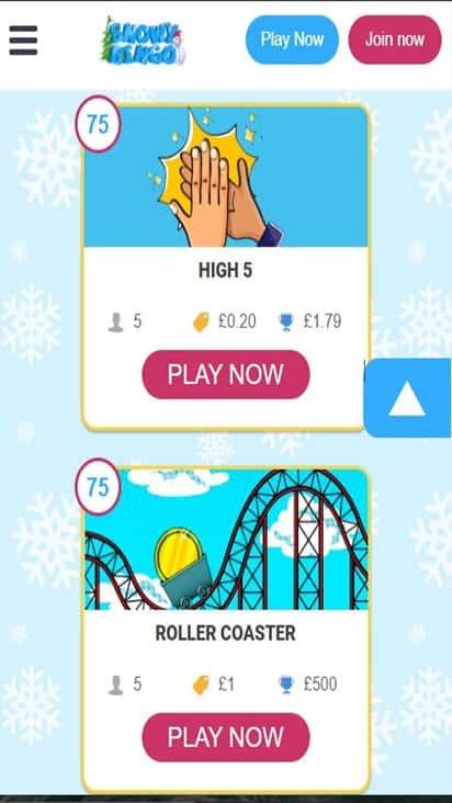 snowy bingo game mboile