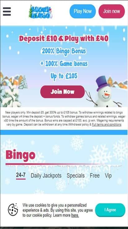 snowy bingo home mobile