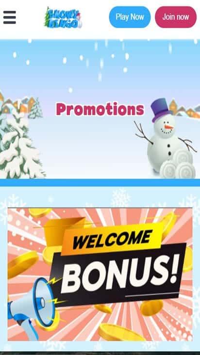 snowy bingo promo mobile