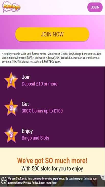 so bingo promo mobile