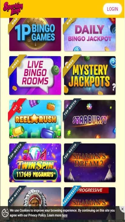 sparkling bingo game mobile