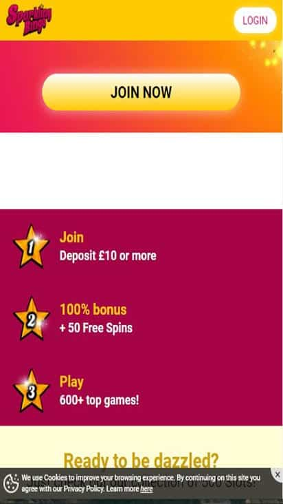 sparkling bingo promo mobile