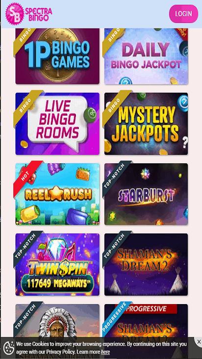 spectra bingo game molbile
