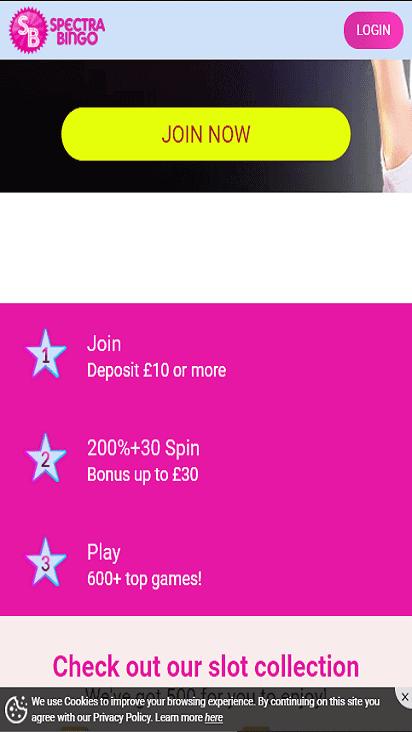 spectra bingo pomo mobile
