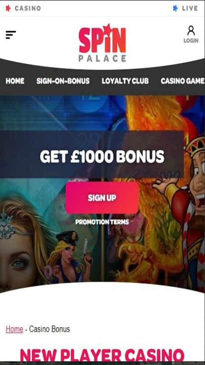 spin palace promo mobile