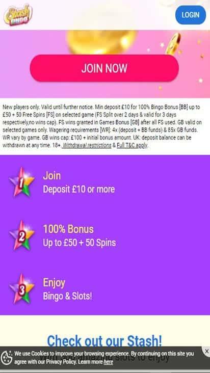 stash bingo promo mobile