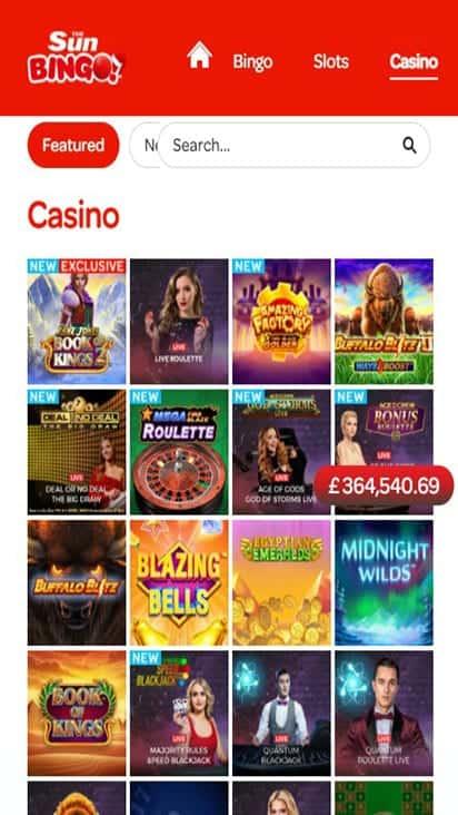 sun bingo game mobile