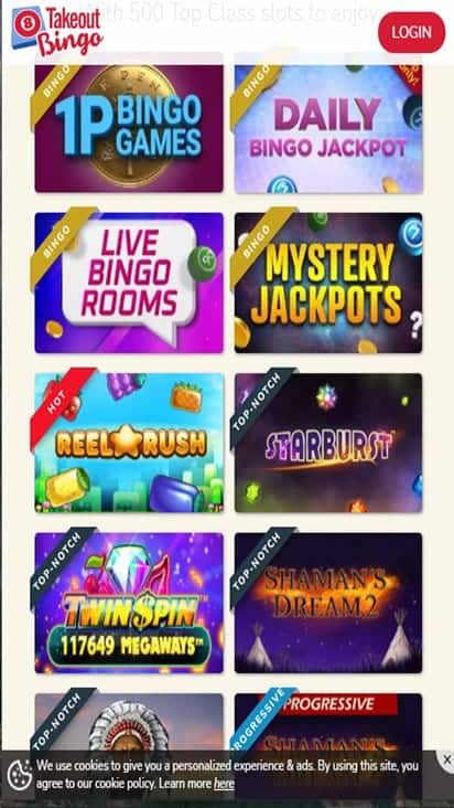 takeout bingo game mobile