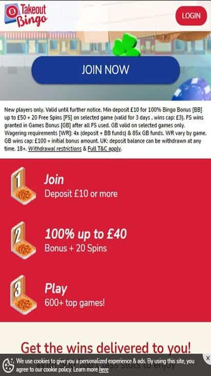 takeout bingo promo mobile