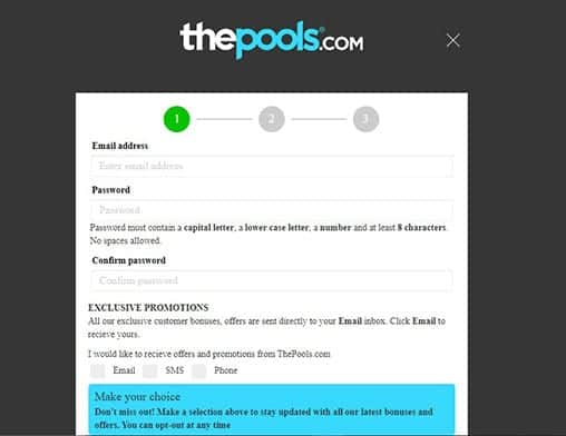 the pools.com signup page