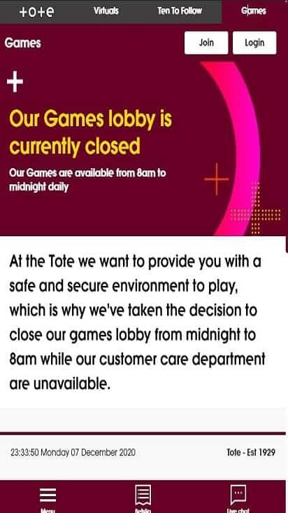 tote sport game mobile