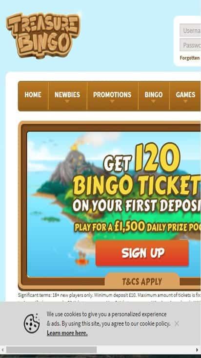treasure bingo home mboile