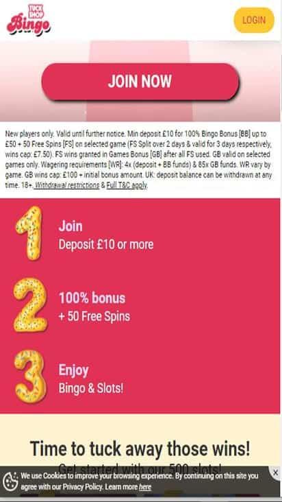 tuck shop bingo promo mobile