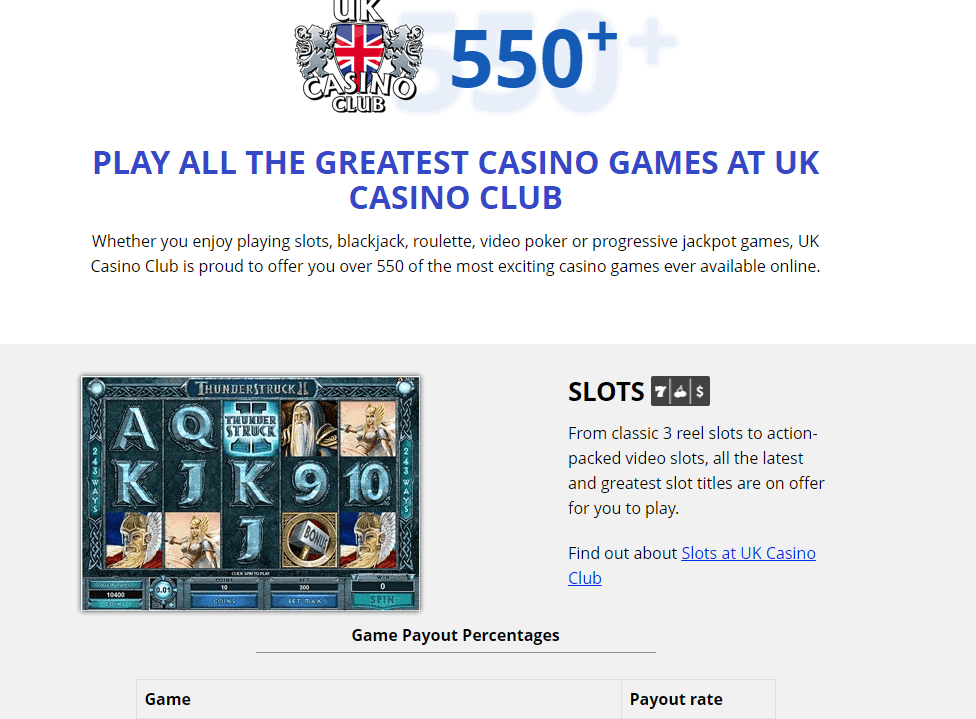 uk casino club games