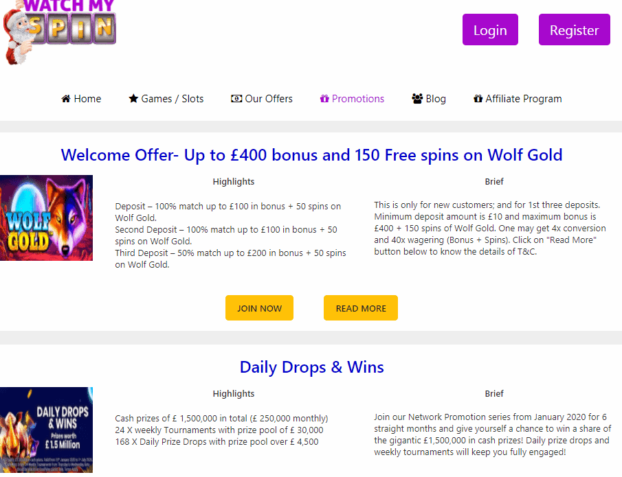 watch my spin promotions