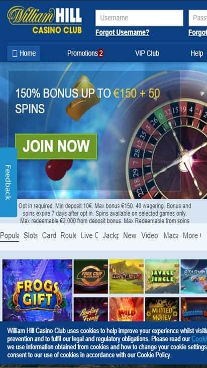 william hill casino home mobile