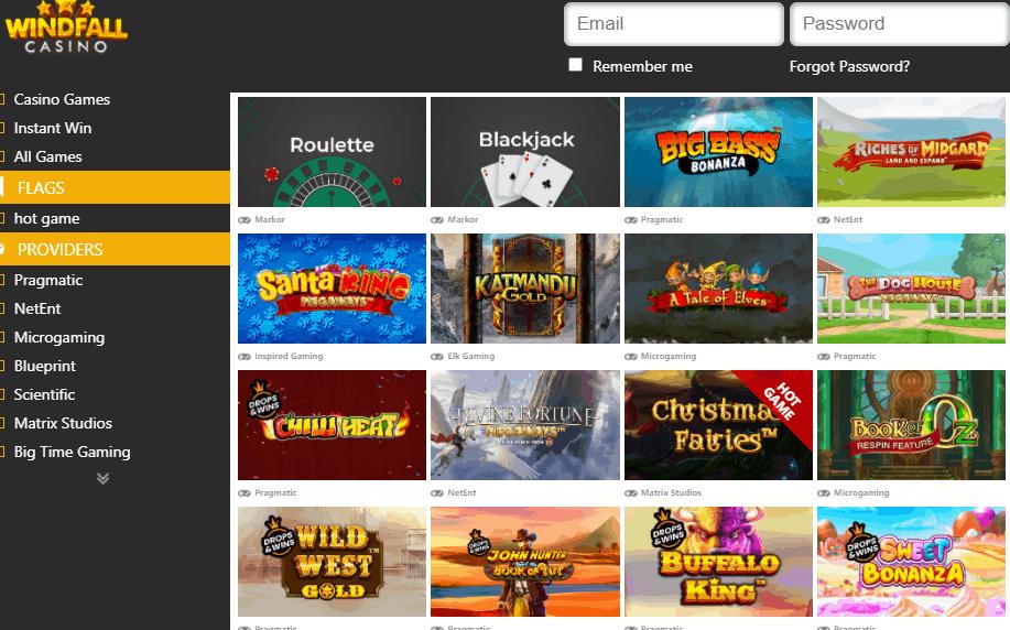 windfall casino games