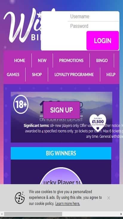 wish bingo home mobile