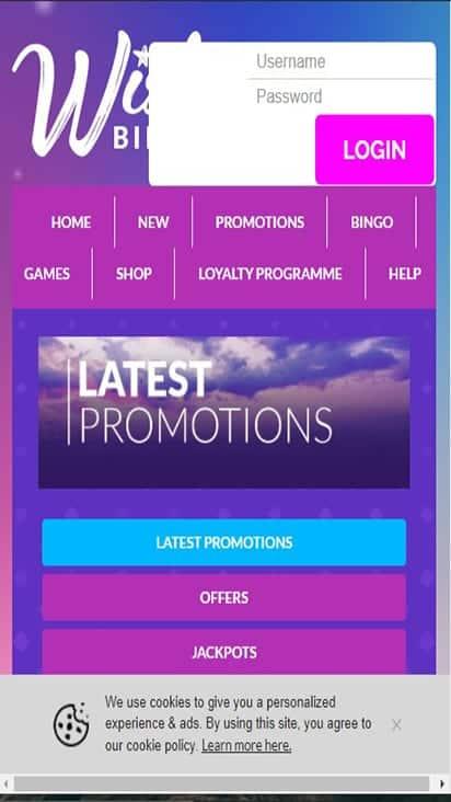 wish bingo promo mobile