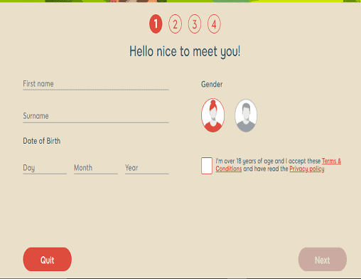 888 Casino sign up page
