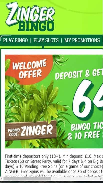 zinger bingo home mobile