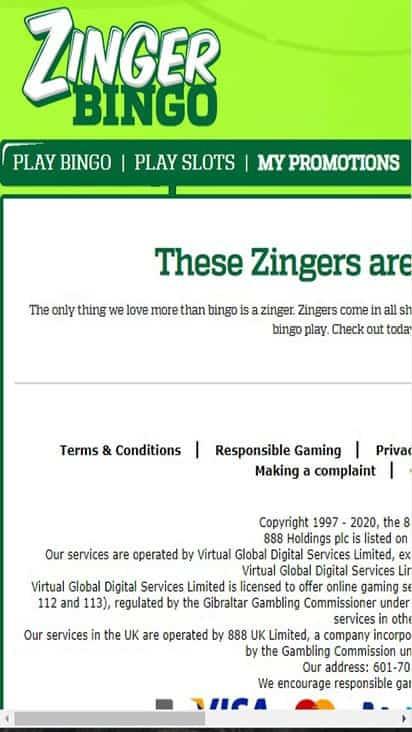 zinger bingo promo mobile