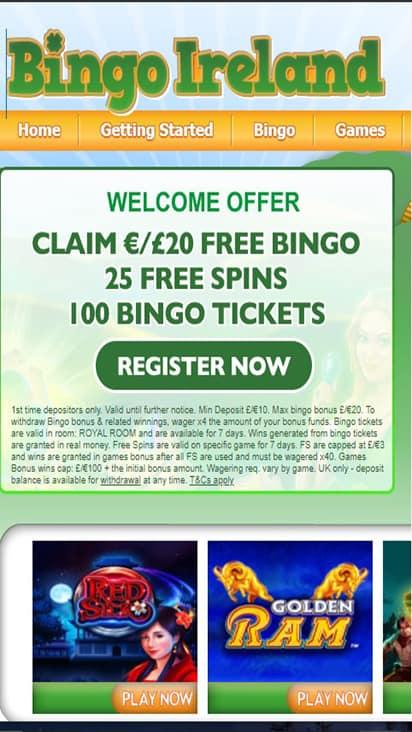 Bingo Ireland home mobile