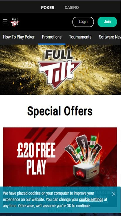 Full Tilt UK promo mobile