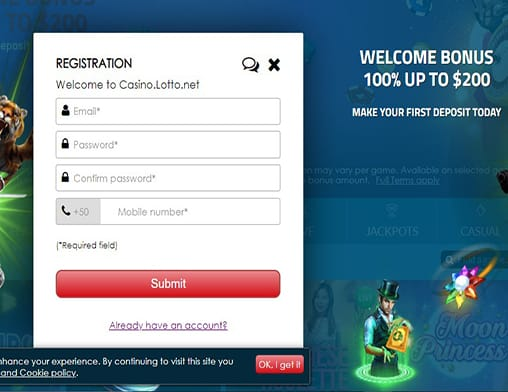 Fruity King sign up page