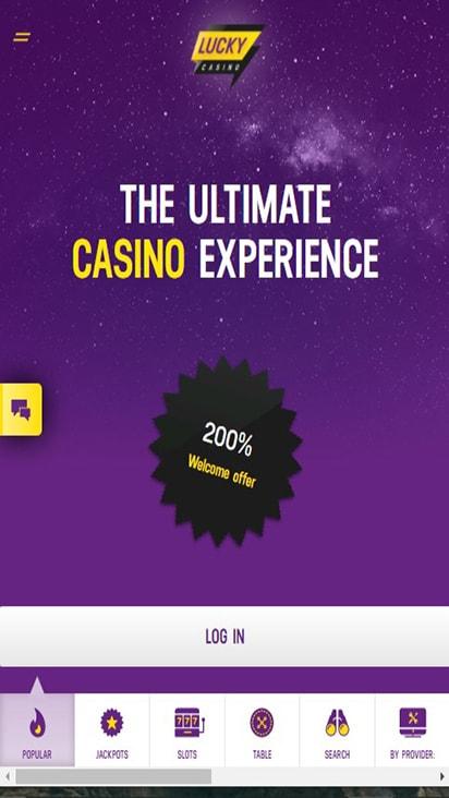 Lucky Casino home mobile