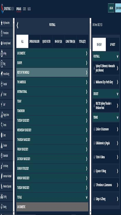 Mobile Sporting Index game