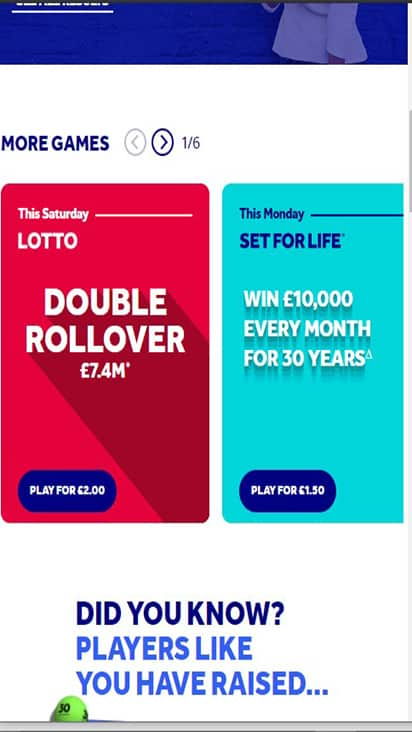 National Lottery game mobile1