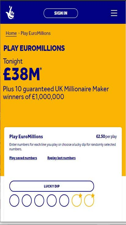 National Lottery promo mobile
