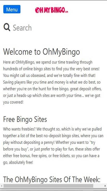 Ohmy Bingo home mobile