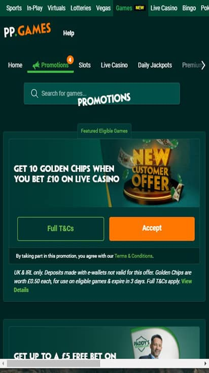 Paddy Power promo mobile