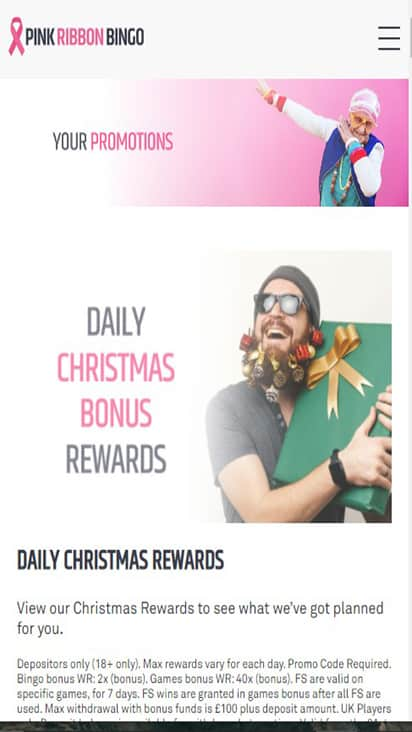Pink Ribbon Bingo promo mobile