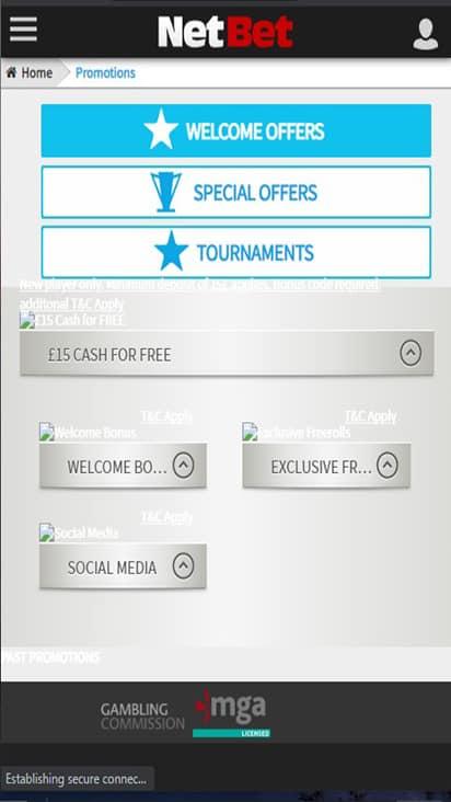 Poker NetBet promo mobile