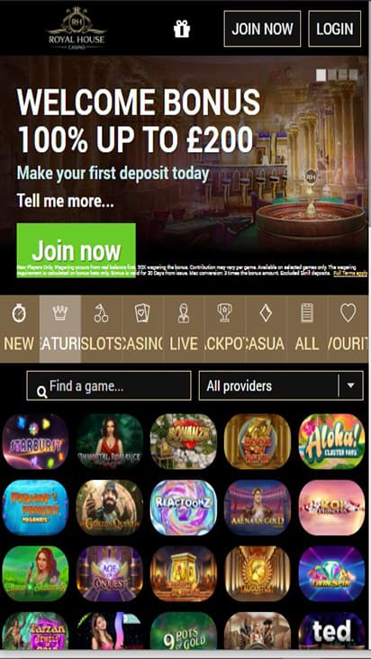 RH Casino home mobile