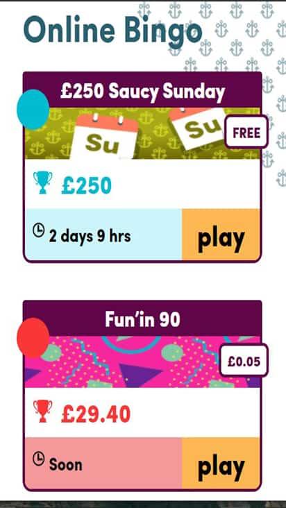 Sailor Bingo game mobile
