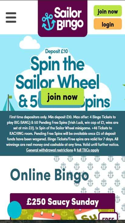 Sailor Bingo home mobile